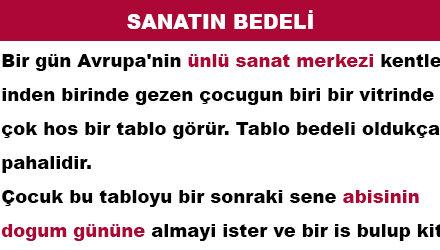 SANATIN BEDELİ