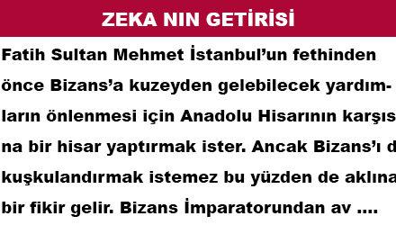 ZEKA NIN GETİRİSİ