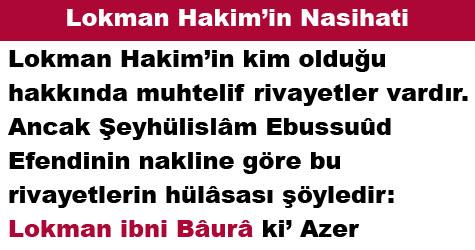 Lokman Hakim'in Nasihati